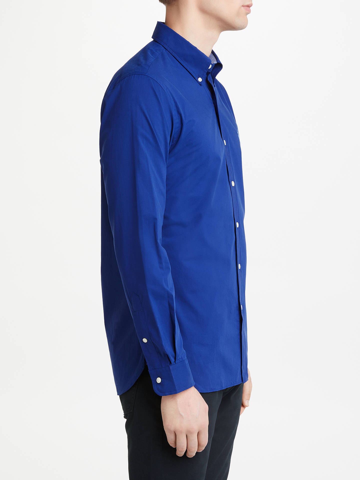 BuyPolo Ralph Lauren Slim Cotton Poplin Shirt, Mid Blue, S Online at johnlewis.com