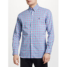 Buy Polo Ralph Lauren Button Down Check Poplin Shirt, Blue/Pink Online at johnlewis.com