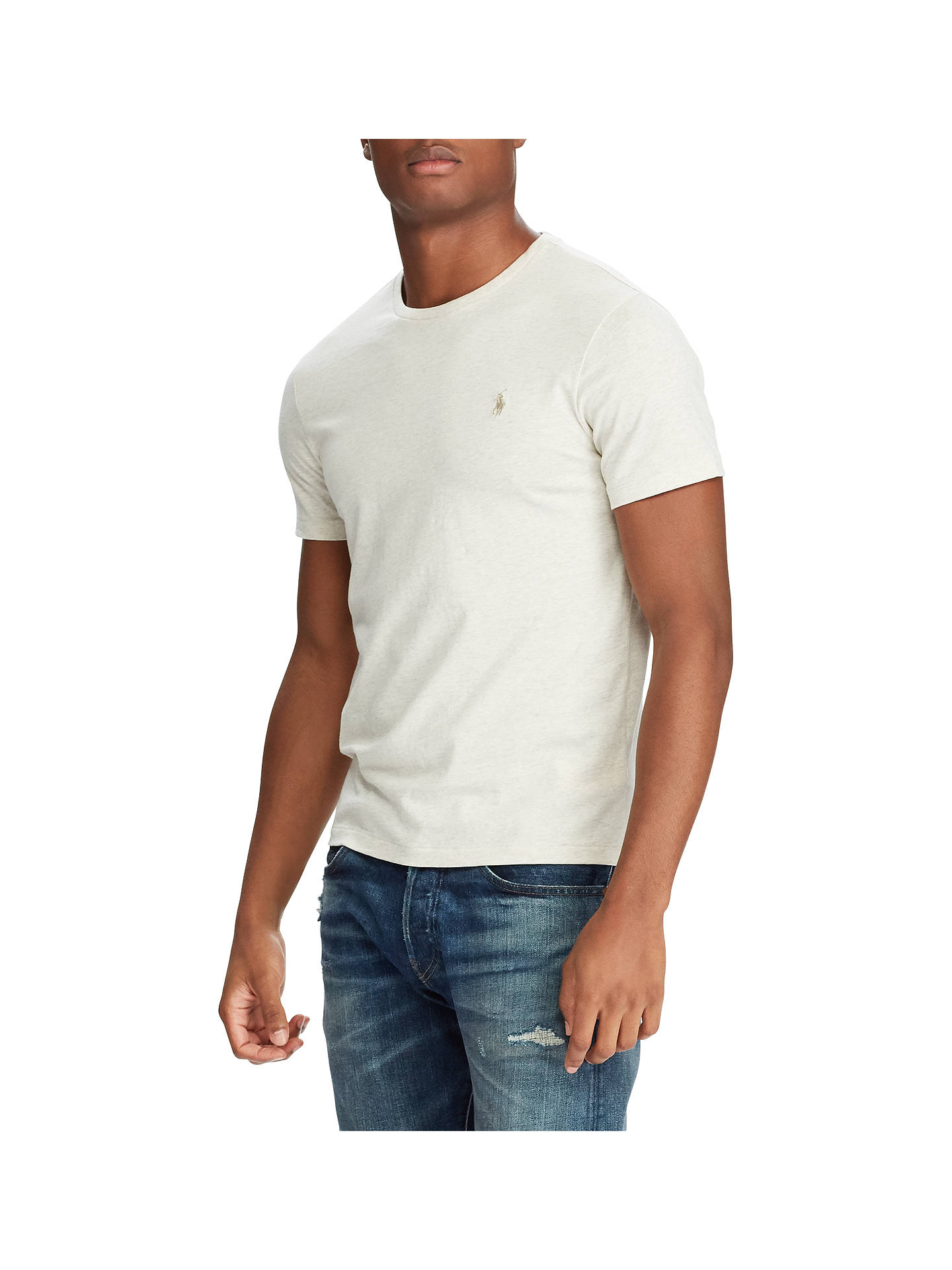 98f7966b Polo Ralph Lauren Slim FIt Crew Neck T-Shirt, New Sand at John Lewis ...