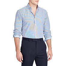 Buy Polo Ralph Lauren Slim Fit Stripe Cotton Poplin Shirt, Candor Blue/White Online at johnlewis.com