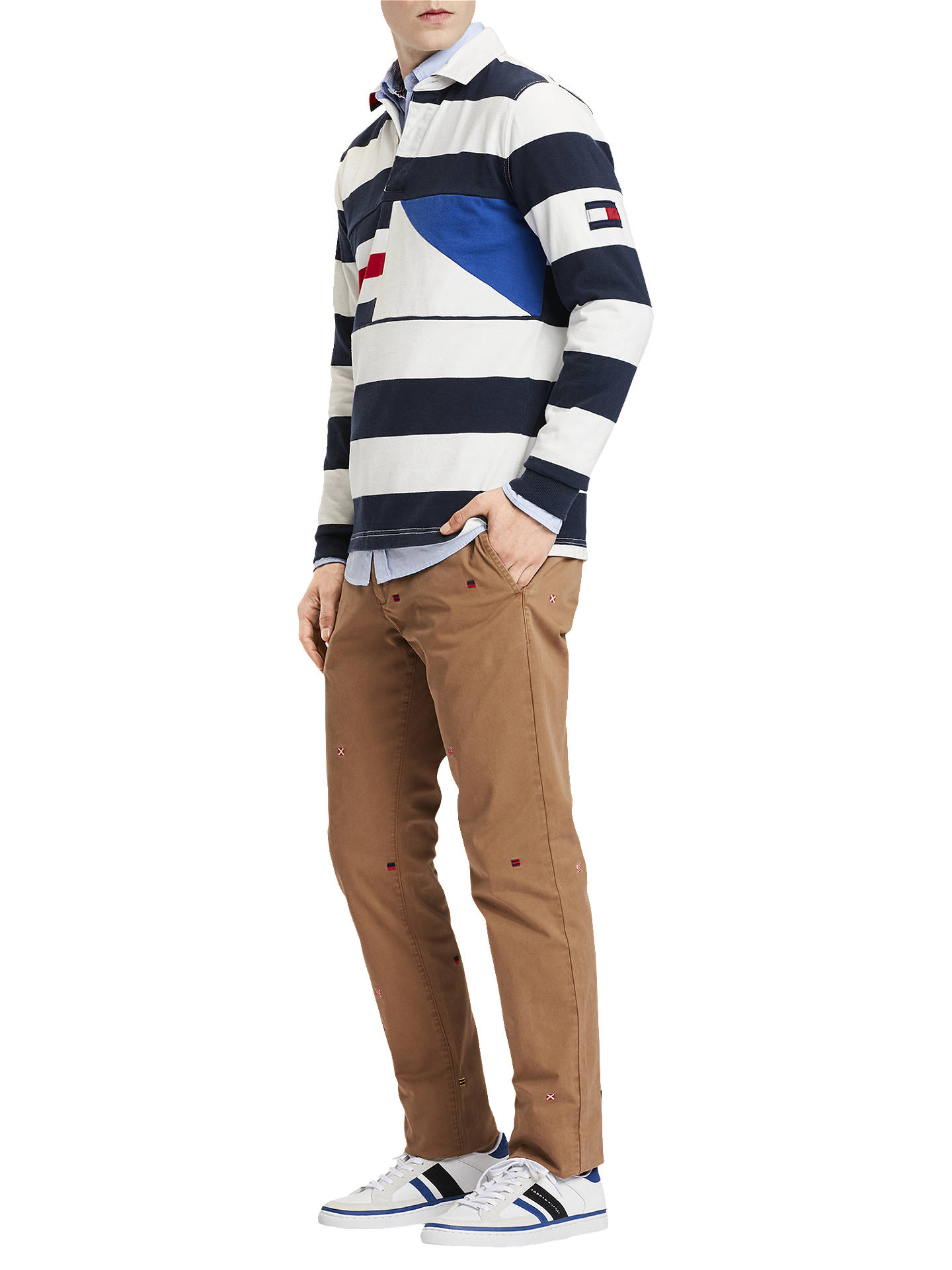 48fcb6ec Buy Tommy Hilfiger Ricky Stripe Rugby Shirt, Navy/White, M Online at  johnlewis ...