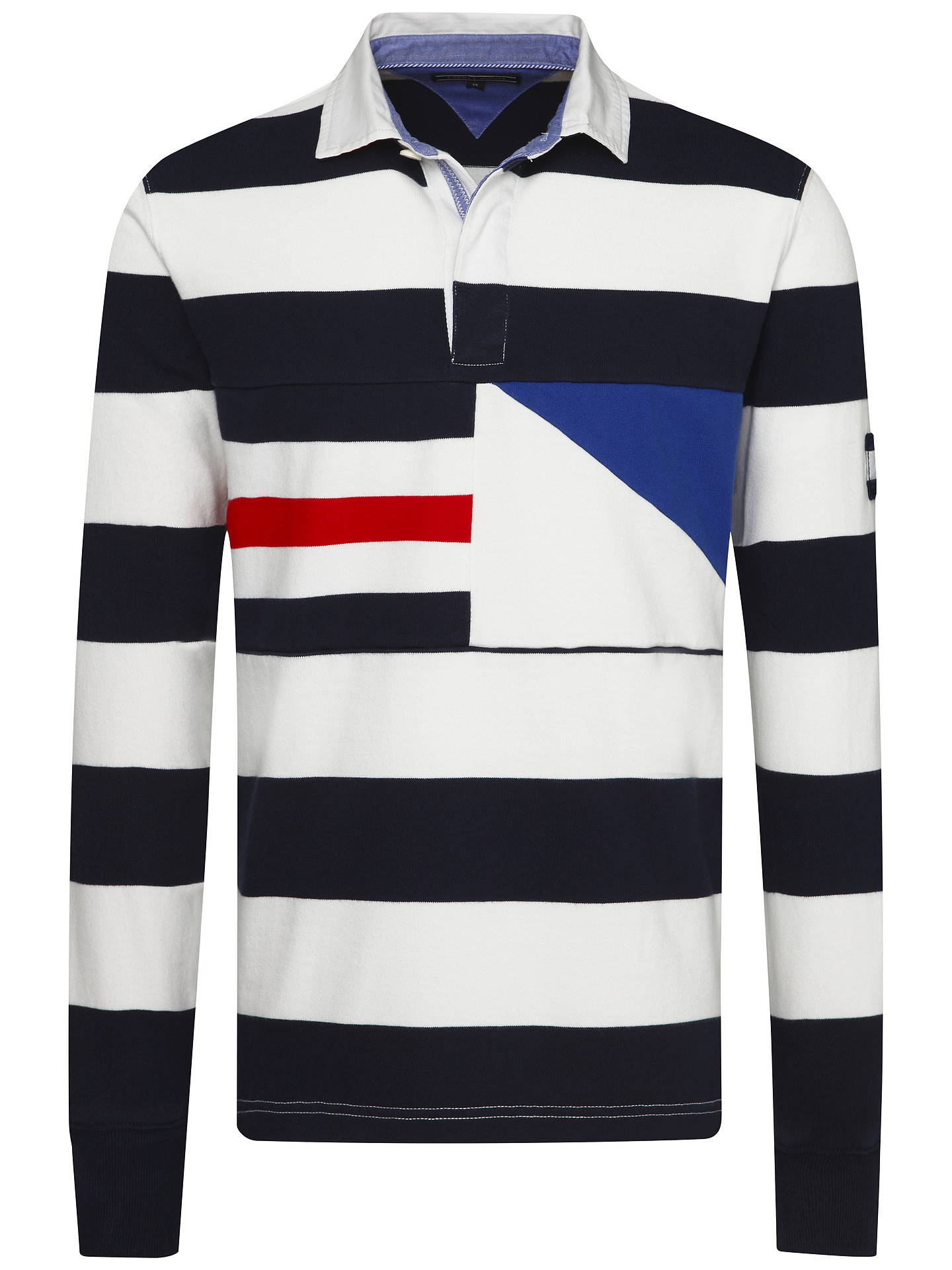 df12d97c ... Buy Tommy Hilfiger Ricky Stripe Rugby Shirt, Navy/White, M Online at  johnlewis ...