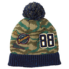 Buy Fat Face Children's Camouflage Badge Beanie Hat, Green Online at johnlewis.com