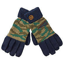 Buy Fat Face Children's Camouflage Badge Gloves, Green Online at johnlewis.com