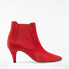 Buy John Lewis Ovia Kitten Heeled Ankle Boots, Red Suede Online at johnlewis.com