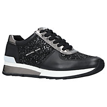 Buy MICHAEL Michael Kors Allie Wrap Leather Trainers, Black/Other Online at johnlewis.com