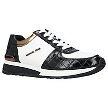 Buy MICHAEL Michael Kors Allie Wrap Leather Trainers, Black/White Online at johnlewis.com