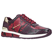 Buy MICHAEL Michael Kors Allie Wrap Snake Print Leather Trainers, Wine Online at johnlewis.com