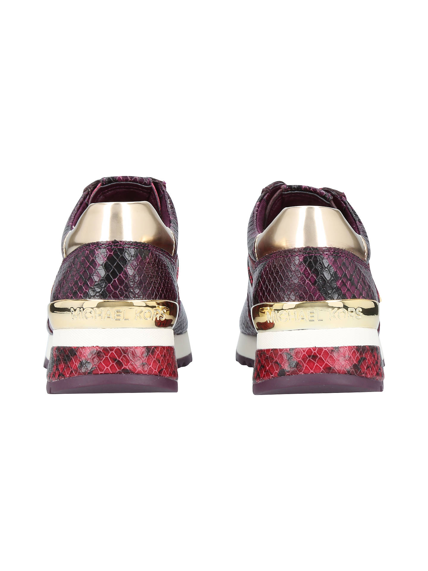 BuyMICHAEL Michael Kors Allie Wrap Snake Print Leather Trainers, Wine, 3 Online at johnlewis.com