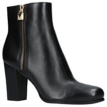 Buy MICHAEL Michael Kors Margaret Block Heeled Ankle Boots, Black Leather Online at johnlewis.com