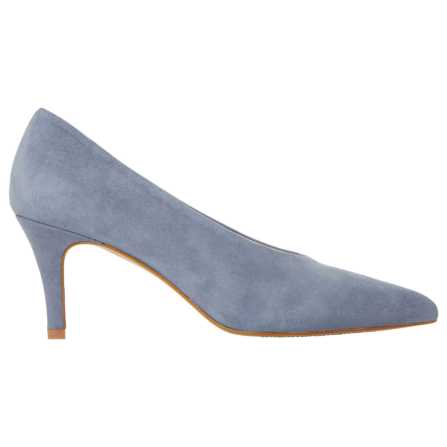 BuyDune Amorell Kitten Heeled Court Shoes, Grey Suede, 3 Online at johnlewis.com