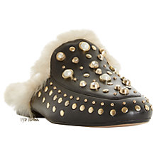 Buy Dune Gossip Studded Mule Loafers, Black Leather Online at johnlewis.com