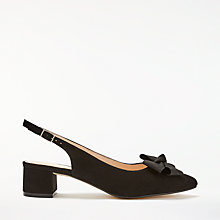 Buy John Lewis Cecilia Bow Court Shoes, Black Suede Online at johnlewis.com