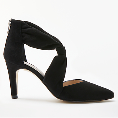 John Lewis Alina Tie Front Court Shoes, Black Suede