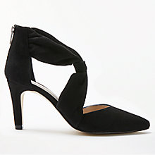 Buy John Lewis Alina Tie Front Court Shoes, Black Suede Online at johnlewis.com