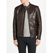 Buy Belstaff Racer Leather Jacket, Dark Brown Online at johnlewis.com