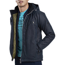 Buy Barbour International Leeve Waxed Cotton Hooded Jacket, Navy Online at johnlewis.com