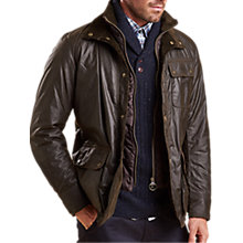 Buy Barbour Connel Waxed Cotton Jacket, Olive Online at johnlewis.com