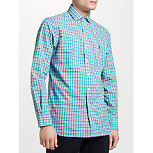 Buy Polo Ralph Lauren Slim Fit Check Poplin Shirt, Foam Green/Pink Multi Online at johnlewis.com