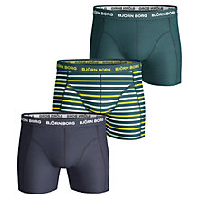 Buy Bjorn Borg Stripe Plain Trunks, Pack of 3, Teal Online at johnlewis.com