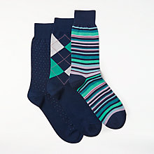 Buy John Lewis Made in Italy Egyptian Cotton Argyle Stripe Dot Socks, Pack of 3, Navy/Multi Online at johnlewis.com