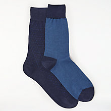 Buy John Lewis Made in Italy Birdseye Fine Stripe Socks, Pack of 2, Navy Online at johnlewis.com