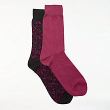 Buy John Lewis Made in Italy Floral Socks, Black/Pink Online at johnlewis.com