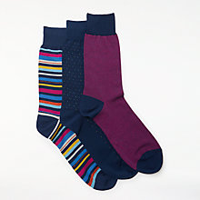 Buy John Lewis Made in Italy Egyptian Cotton Birdseye Stripe Socks, Pack of 3, Brights Online at johnlewis.com