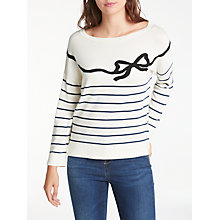 Buy Weekend MaxMara Curzio Bow Stripe Jumper, White/Navy Online at johnlewis.com