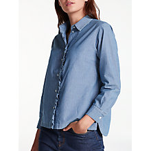 Buy Weekend MaxMara Zibello Chambray Frill Top, Light Blue Online at johnlewis.com