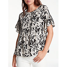 Buy Weekend MaxMara Toronto Flutter Sleeve Top, Black/Sand Online at johnlewis.com