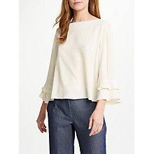 Buy Marella Lago Frill Sleeve Blouse, White Online at johnlewis.com