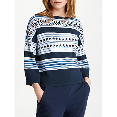 Marella Camping Stars & Stripes Print Jumper, Cornflower Blue