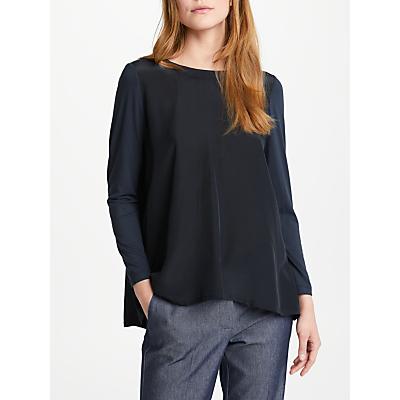 Marella Flauto Silk Cotton Top, Navy