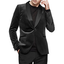Buy Reiss Wolf Velvet Slim Fit Dress Jacket, Charcoal Online at johnlewis.com