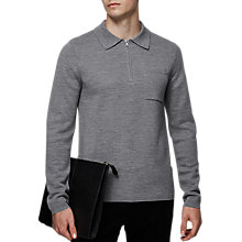 Buy Reiss Sail Zip Neck Long Sleeve Polo Shirt, Grey Online at johnlewis.com
