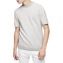 Buy Reiss Sherringham Textured Knit Short Sleeve Jumper, Soft Grey Online at johnlewis.com