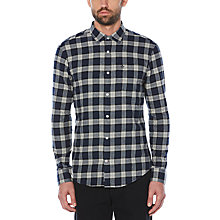 Buy Original Penguin Heathered Plaid Flannel Check Shirt, Dark Sapphire Online at johnlewis.com