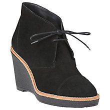 Buy L.K. Bennett Madi Wedge Heel Ankle Boots, Black Suede Online at johnlewis.com