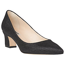 Buy L.K. Bennett Annabelle Block Heeled Court Shoes, Black Fabric Online at johnlewis.com