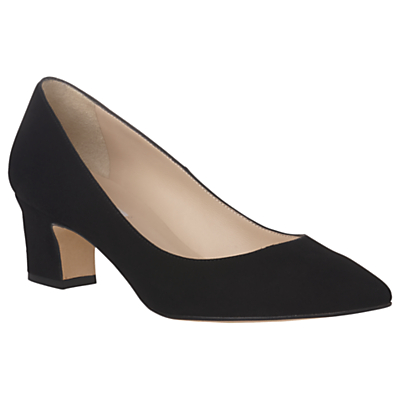 L.K. Bennett Annabelle Block Heeled Court Shoes, Black Suede