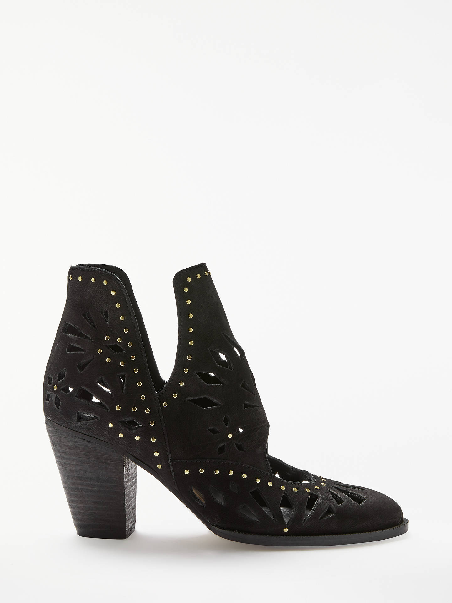 079be5faa02 AND/OR Petronia Cut Out Ankle Boots, Black Leather at John Lewis ...