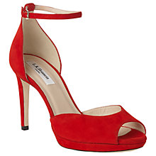 Buy L.K. Bennett Yasmin Stiletto Heeled Sandals, Red Suede Online at johnlewis.com
