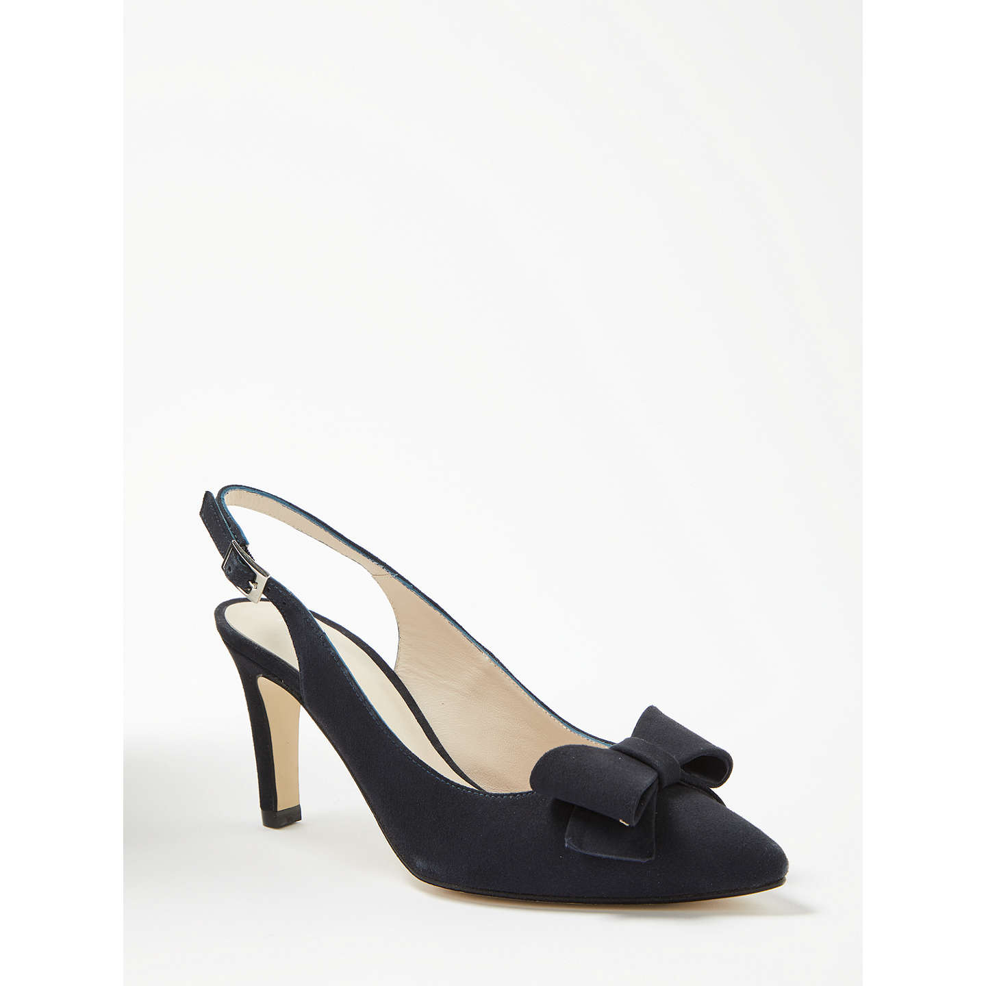 BuyJohn Lewis Callie Bow Slingback Court Shoes, Navy Suede, 3 Online at johnlewis.com