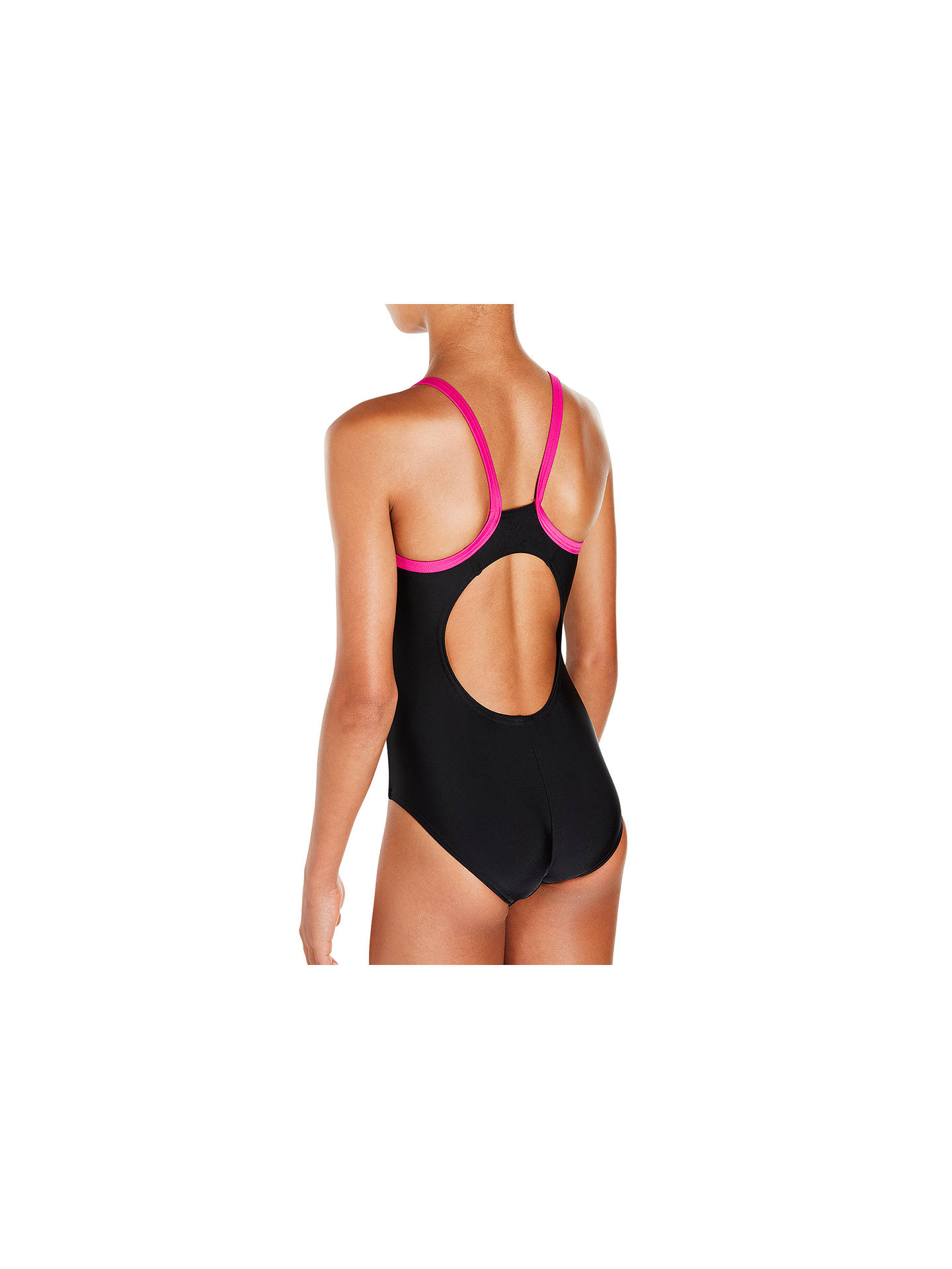 "Buy Speedo Girls' Speedo Gala Thinstrap Muscleback Swimsuit, Black/Pink, Chest 24"" Online at johnlewis.com"