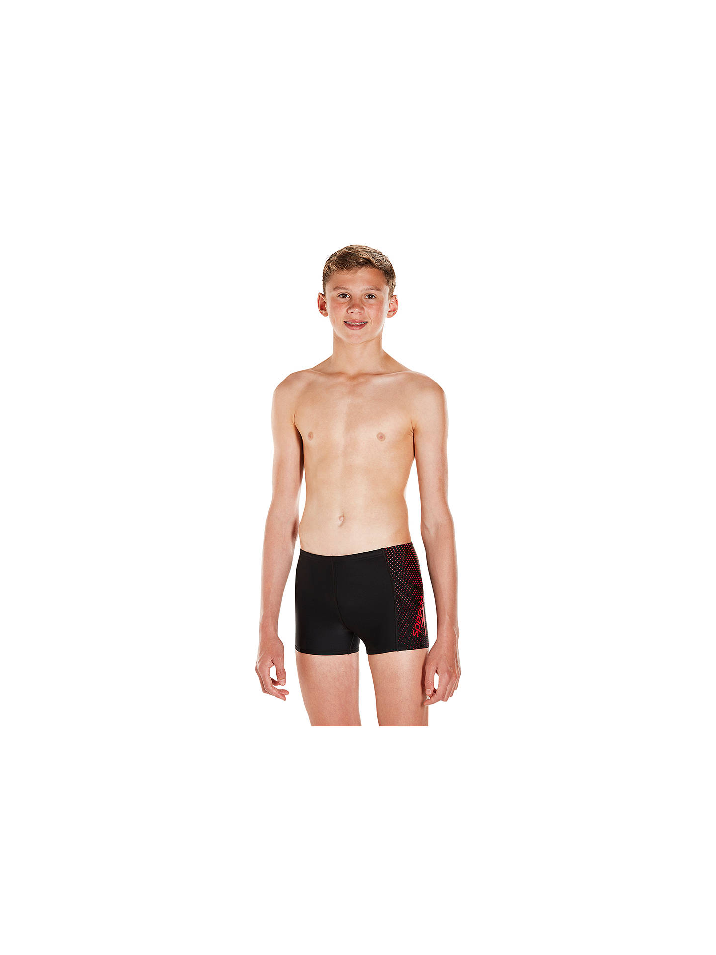 "Buy Speedo Boys' Gala Aquashorts, Black/Red, Waist 22"" Online at johnlewis.com"