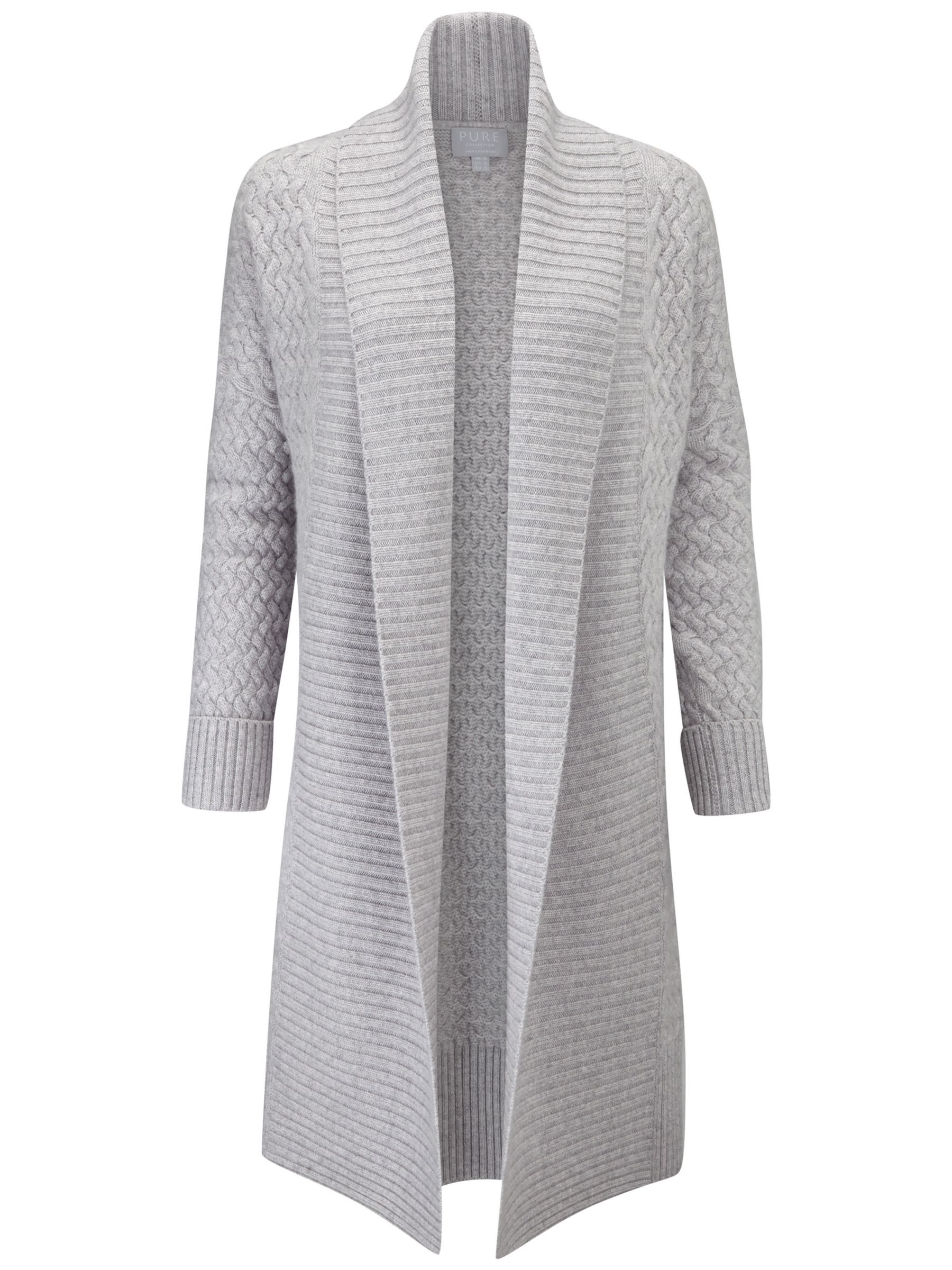 Pure Collection Luxury Cashmere Cocoon Cardigan. Heather