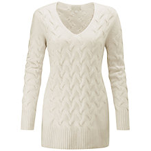 Buy Pure Collection Luxury Cable Cashmere Jumper, Soft White Online at johnlewis.com