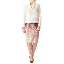 Buy Pure Collection Ombre Sequin Pencil Skirt, Pink/Multi Online at johnlewis.com