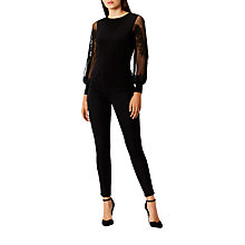 Buy Coast Elva Jersey Lace Top, Black Online at johnlewis.com